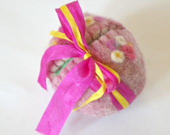 Felted Wool Easter Egg Toy: Sweet Something in 'Perfect' (Silk and Wool Surprise Easter Egg with Bunny)