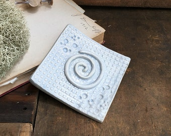Square Soap Dish - Ring Plate - Light Blue Ceramic - Shabby Chic Bathroom - 3 x 3 inches