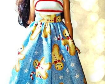 Curvy Barbie Clothes - Handmade Christmas Skirt & Top for Curvy Barbie Doll