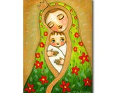 Mother and Chile MADONNA with Baby Jesus Christmas portrait painting ORIGINAL acrylic painting on canvas by artist TASCHA