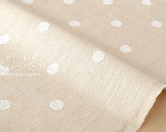 Japanese Fabric Embroidered Dots linen - cream, natural - 50cm