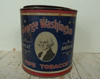 Vintage Red White & Blue George Washington Pipe Tobacco Rusty Tin Container