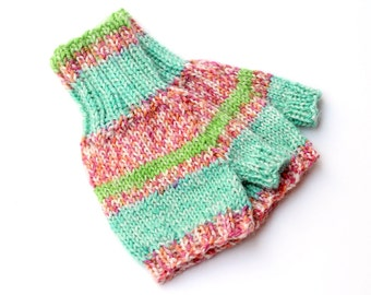 Toddler Fingerless Gloves. Hand Warmers. Knit Wool Mittens Without Fingers. Wrist Warmers. 12 to 18 Months. Handknit Kids Fingerless Mittens