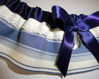 Denim Blue & Cream Wedding Garter•Country Wedding•Western Wedding•Western Prom•Boot Garter•Blue Garter•Denim Blue•Country Girl•Barn Wedding