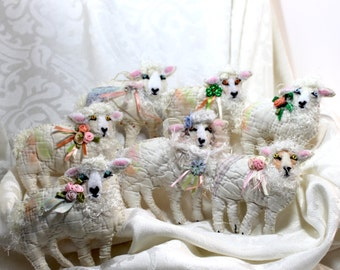 Flock of Irish Sheep Quilty Critters  - Buyer Choice Lg Version - OOAK, Folk Art, Ornament, St. Patricks Day, Springtime