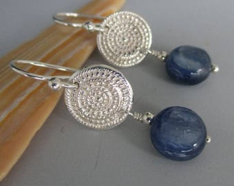 999 Fine Silver Disks with Denim Blue Kyanite Coins Sterling Silver Earrings