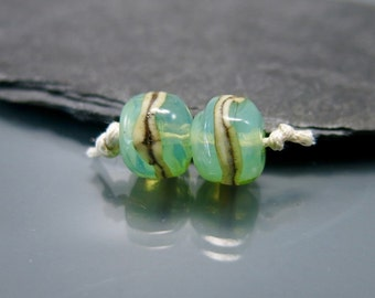 Handmade Lampwork Earring Pair Beads by GlassBeadArt  … Opal green and silvered ivory earring beads ... 9x8mm … SRA F12