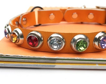 Yellow Orange Leather Cat Collar with Multi-Color Crystals, Eco-Friendly, to fit a 8-10 Neck, Reclaimed Leather, Seattle Handmade, OOAK