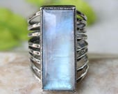 Rectangle cabochon moonstone ring in silver bezel setting with sterling silver hammer texture oxidized band/TP