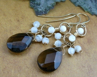 Smoky Quartz Earrings ~ Mother of Pearl Earrings ~ Brown Earrings ~ 12K Gold Filled Dangle Earrings ~ Earthy Earrings ~ Faceted Brown Quartz