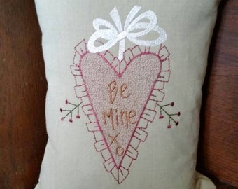 Cotton pillow with embroidered primitive heart - 11x7 Valentine gift