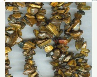 CLEARANCE Shades of Brown Tigers Eye Gemstone Chip Beads 35 inch Strand Tiger Eye Bead Chips