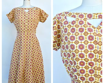 1950s cut out floral print dress / small