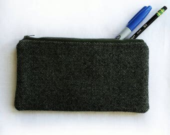 green grey wooly unisex zipper pouch, school pencil or art supply bag, perfect for medication or epi-pen, cosmetic makeup travel purse