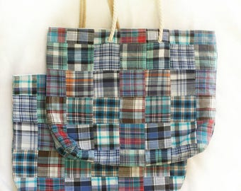 XL travel tote in coastal blue madras, large reversible vacation beach bag, huge casual shoulder bag, seaside aqua plaid