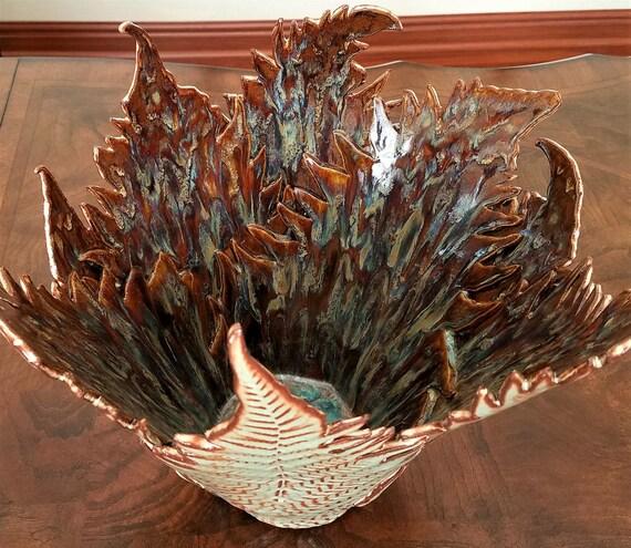 Handmade Pottery - Ceramic Vase - Stoneware Vase - Pottery Vase - Decorative Vase - Centerpiece - Large Vase - Fern - Green - Anniversary