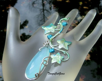 Blue Chalcedony  Silver Climbing  Ivy  Aqua Briolette  Hand Painted Pendant
