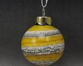 ON SALE Handmade Lampwork Glass Blown Hollow Ornament by Jason Powers SRA (yellow 2)