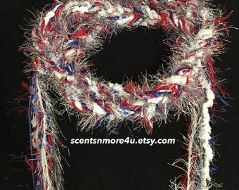 Crochet Skinny Scarf-Red, White, and Blue