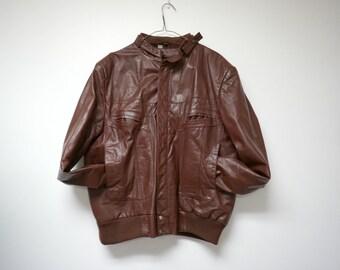 Wilsons . leather biker rocker jacket . size 46