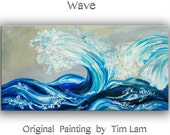 Original large modern impasto landscape painting sea art Rolling Wave Abstract Painting Acrylic Painting gallery canvas by tim Lam 48x24