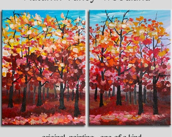 Autumn Art painting, oil art painting, Pink Red woodland, Original art Large modern art, abstract 48 inches canvas landscape painting,