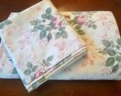 Twin Set Pink Roses Twin Sheet w/Pillowcase - Vintage Roses Bedding - Dan River - Cottage Bedding - Farmhouse Fresh