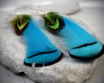 Feather Earrings - Extra Long Earrings - Teal Earrings - Bohemian Jewelry - Boho Earrings - Feather Jewelry - forest girl jewelry