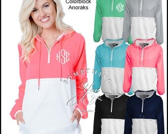 Monogrammed Colorblock Anorak Jacket Pullover - 6 Colors - Womens Anorak, Personalized Windbreaker, Monogrammed Windbreaker, Bright Colors
