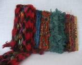 Silk Sari Scrap Yarns Teal Red Ruffle Art Yarns 1461