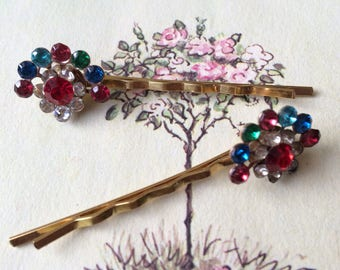 Colorful Rhinestone Hair Pins, Gold Tone, Upcycled Vintage Earrings, Set of Two