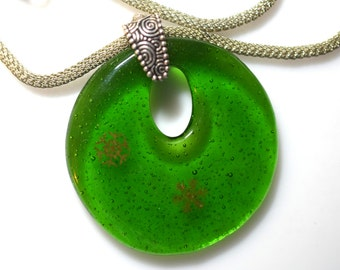 Large Green Fused Glass Pendant Necklace With Two Gold Snowflakes On Silver Bail And Adjustable Necklace
