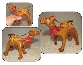 Vintage Stitched Leather Camel Figurine, home decor, ornament