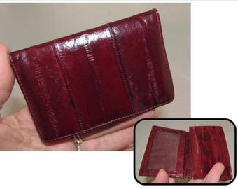 Small Vintage Cranberry Burgundy Eel Skin Leather Coin Purse, eelskin