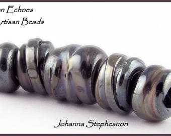 BIG 6mm HOLE Pewtered Eggplant Spiral Lampwork Bead Set SRA