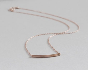Rose Gold Necklace, Sliding Bar Necklace, 14K Gold Fill, Rose Gold Layering Necklace, Hammock Necklace, Rose Gold Curved Tube Necklace