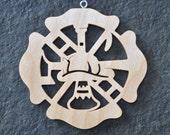 Fireman Fire Fighter  Ornament Hand Cut wooden Christmas Ornaments