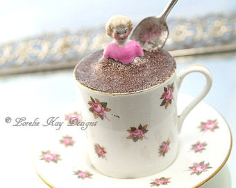 Coffee Tea or Me Teacup Art Doll Assemblage Art Doll China Teacup Mixed Media Doll Sculpture Tea Lover Gift Tea Party Decoration
