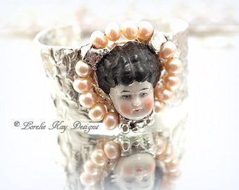 Cameo Pearl Doll Bracelet Soldered Cuff China Doll Head Wearable Doll Face Statement Bracelet