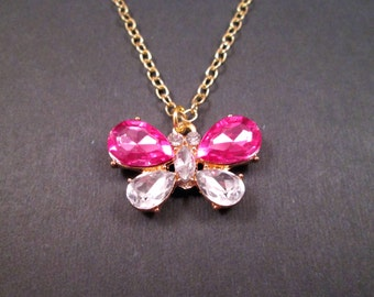 Rhinestone Butterfly Necklace, White and Pink Acrylic Stones, Gold Pendant Necklace, FREE Shipping U.S.