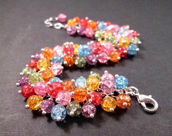 Silver Wire Wrapped Cha Cha Bracelet, Rainbow Crackle Glass Beaded Bracelet, FREE Shipping U.S.
