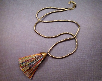 Rainbow Tassel Necklace, Pendant Necklace, Rayon Tassel and Brass Beaded Necklace, FREE Shipping U.S.