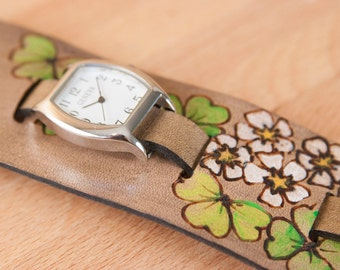 "Cuff Watch - Womens 2"" Wide Leather Cuff Watch with Flowers and Shamrocks  - Handmade in the Lucky Pattern in Green and Antique Black"