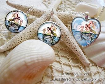 I Love Mermaids,heart shaped pendant and earrings,  gift box...hearts, mermaid jewelry, heart pendants, mermaid pendants, mermaids