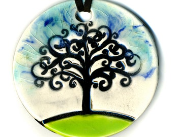 Tree Ceramic Necklace In Blues and White