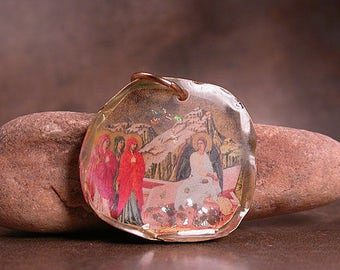 Mixed Media Pendant Rustic Resin with 3 Ladies & An Angel Divine Spark Designs SRA