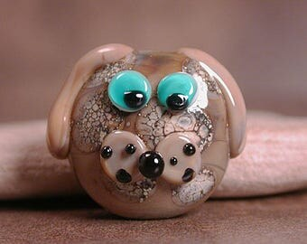 Lampwork Focal Bead Dog Face Divine Spark Designs SRA
