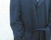 Vintage 70s 80s men's black wool trench coat
