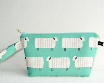 Wedge Bag, Small-Project Size Knitting Bag, Charms Sheep on mint green Japanese fabric