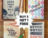 HOOPLA SALE Buy 3 Get 1 FREE Pocket-Sized Notebooks, kraft cover and recycled paper, travel journal, portable sketchbook